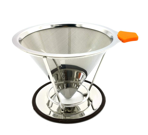 Stainless Steel Coffee Dripper Reusable Pour Coffee Filter.(for 1-4cups)