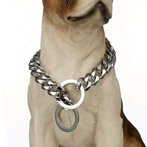 Loveshine Stainless Steel Dog Collar, 15mm Fancy Slip Chain - Best Large Dogs: Pitbull, Doberman, Bulldog For dog neck 22""