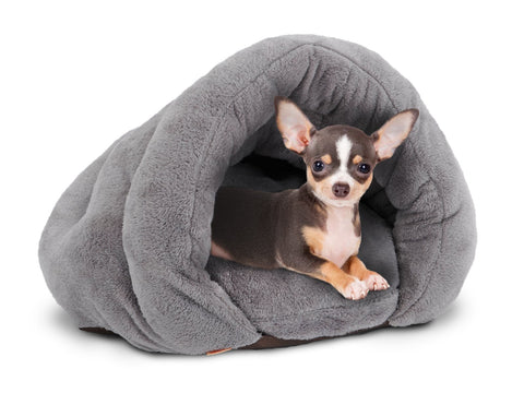 PLS Birdsong The Original Cuddle Pouch Pet Bed, Extra Small, Dog Cave, Cosy, for Burrower Cats and Puppies Gray