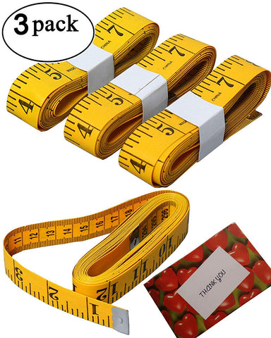 3pcs Tape Measure 300cm/120 Inch Double-Scale Soft Tape Measuring Body Weight Loss Medical Body Measurement Sewing Tailor Cloth Ruler Dressmaker Flexible Ruler Tape Measure, Heavy Duty 3pcs Yellow