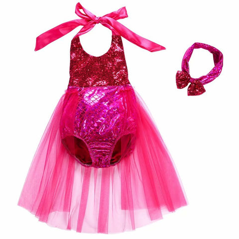 Baby Girls One Piece Sequins Swimsuit Mermaid Bikini Dress+Headband 120(5-6years) Rose Red