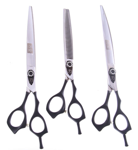 ShearsDirect 40 3 Tooth Blender Shear Set, Includes 8.0-Inch Straight, 8.0-Inch Curved and 7.0-Inch