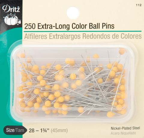 Dritz 112 Color Ball Pins, Extra Long, 1-3/4-Inch (250-Count) 250-Count