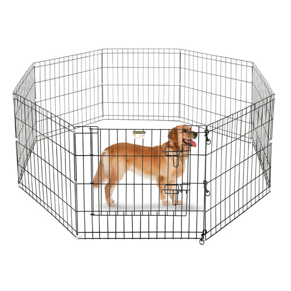 ALEKO SDK-42B Heavy Duty Pet Playpen Dog Kennel Pen Exercise Cage Fence 8 Panel 32 x 32 Inches Black