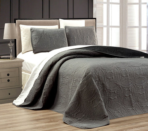 3-Piece GREY / BLACK Oversize  ORNATO  Reversible Bedspread KING / CAL KING Embossed Coverlet set 118 by 106-Inch