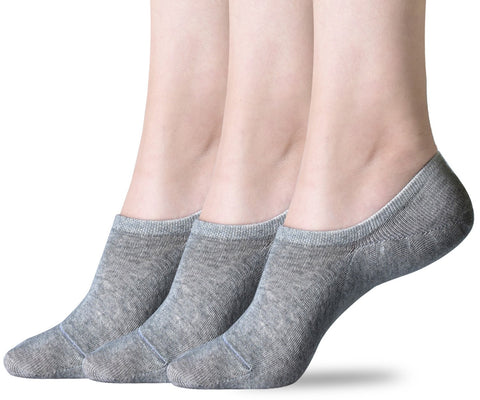 No Show Socks for Women, 3-15 Pack Thin Casual Invisible Non Slip Flat Boat Line Socks Grey 3 Pairs