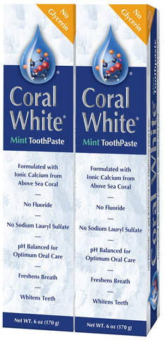 Coral White - Coral White Mint Toothpaste Natural Fluoride SLS Free Coral Calcium Remineralizing Toothpaste (2 Pack) 2 Pack