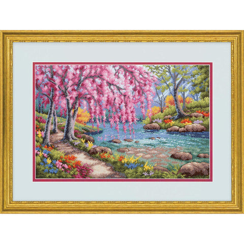 "Dimensions 70-35374 Cherry Blossom Creek Gold Collection Cross Stitch Kit, 16 Count Light Blue Aida Cloth, 10"" x 15"""