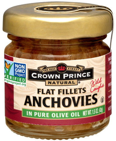 Crown Prince Natural Flat Fillets of Anchovies in Pure Olive Oil, 1.5-Ounce Jars (Pack of 18) Anchovy Fillets 1.5-Ounce Jars (Pack of 18)