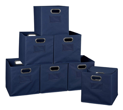 Niche A-FFCB12NV Cheer Home Foldable Fabric Bins Collapsible Cloth Cube Storage Basket, Set of 12, Navy Blue
