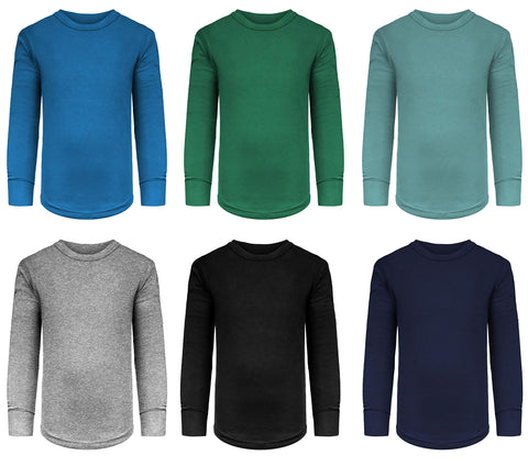 Boys/Toddler 6 Pack Athletic Performance Long Sleeve Undershirt Tops/Base Layer Cotton Stretch Shirts 6 Pack- Evergreen/ Blue/Arctic/Black/Grey/ Navy 16 / 18