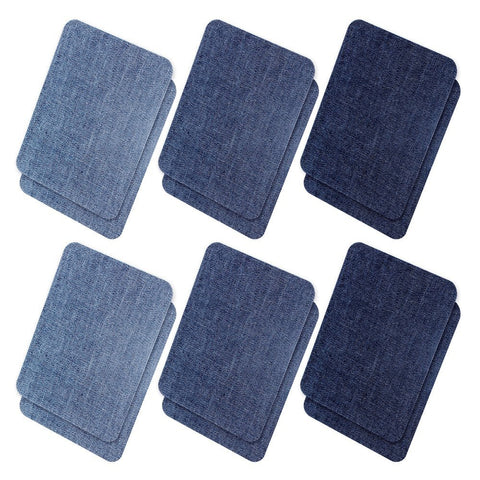 Iron On Denim Patches for Clothing Jeans, 12Pcs No-Sew Denim Patches Assorted Cotton Jeans Repair Kit,Great for DIY Sew on Patch for Jeans, with 3 Assorted Colors (4.9  X 3.7 )