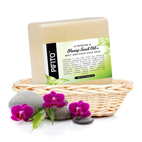 Pifito Premium Hemp Seed Oil Melt and Pour Soap Base (5 lb) - 100    Natural Glycerin Soap Base - Luxurious Soap Making Supplies 5 lb