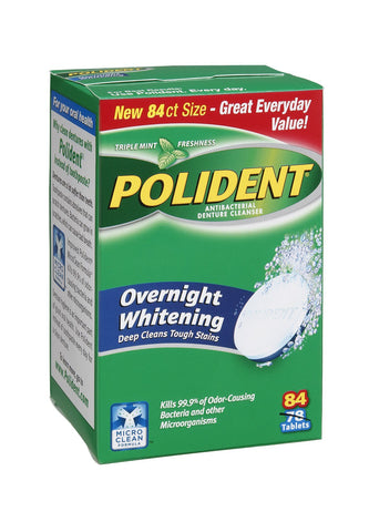 Polident Overnight Whitening Triple Mint Freshness Antibacterial Denture Cleaner Tablets - 84 CT