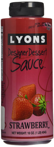 Lyons Designer Dessert Sauce, Strawberry, 16 Ounce Bottle