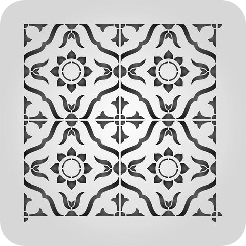 Moroccan Tile Stencil - 12 x 12 inch 4 Tile (L) - Reusable Talavera Mexican Turkish Italian Tile Stencils for Painting - Use on Walls, Floors, Fabrics, Glass, Wood, and More… L