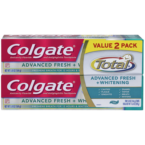 Colgate Total Advanced Fresh + Whitening Gel Toothpaste, 5.8 ounce (2 Pack) Pack of 2