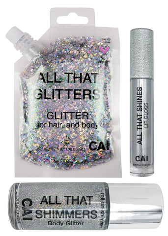 Glitter Kit Body, Hair, Face, Lip Gloss Holographic Cosmetic Grade Glamour, Silver 3-Piece Glitter Set Silver