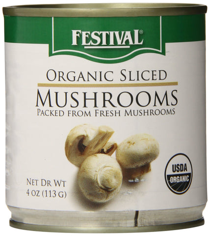 Festival Organic Sliced Mushrooms, 4 Ounce  (Pack of 12)