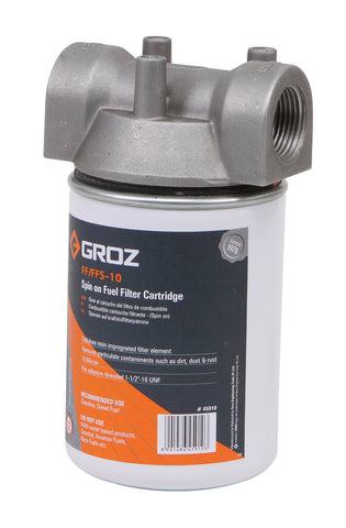 "Groz 45901 Fuel Filter, Spin On Cartridge Style with 10 Micron Filter, 1"" Npt"