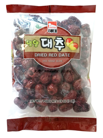 16 Oz Big Dried, Haitai Dried Red Date (Jujube) - 해태 영양 대추 (Red Date/Jujube (16 oz), 1 Pack Red Date / Jujube (16 oz)