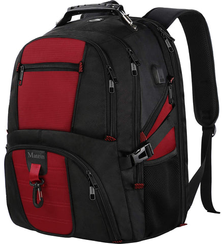 Travel Backpack for International Travel, Matein TSA Friendly Laptop Backpack Extra Large Capacity for 17 Inch Computers, Big Backpack for College School with USB Charging Port for Women and Men Red