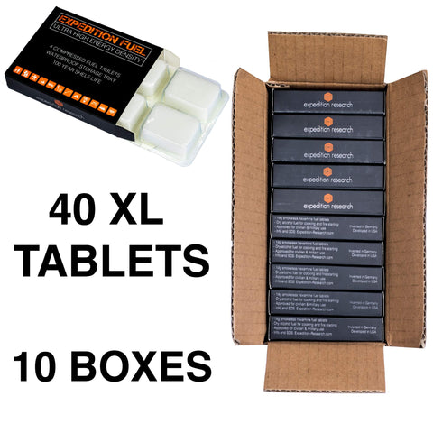 Expedition Solid Fuel - 40 XL Hexamine 1300-Degree Tablets in 10 Retail Packages - Rugged & Submersible Storage Trays for Camping Stoves and Fire Starting, Backpacking, Survival, and Bushcraft