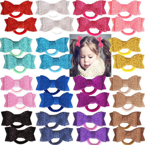 "30Pcs Baby Girls Boutique Bling Sparkly Sequins 2.75"" Hair Bows Elastic Ties Ponytail Holders For Girls Kids Children Toddlers Teens Gifts in Pairs"