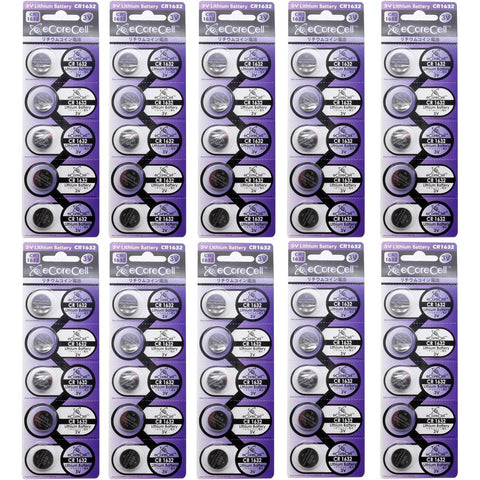 eCoreCell (50pcs) CR1632 3V 3 Volt Lithium Single Use Non-rechargeable Button Coin Cell Battery