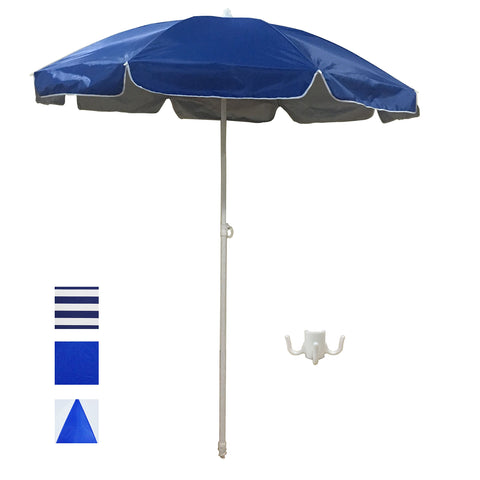 ShadeRest 6' Portable Beach Umbrella, UV Protection with Sand Anchor and Carry Bag—Blue with Silver Coating Color3