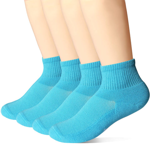 +MD 4 Pack Womens Bamboo Cushioned Sports Ankle Socks Colorful Moisture Wicking Quarter Casual Socks Blue(4pairs) 7-9 Socks Size/4-7.5 Women's Shoe Size
