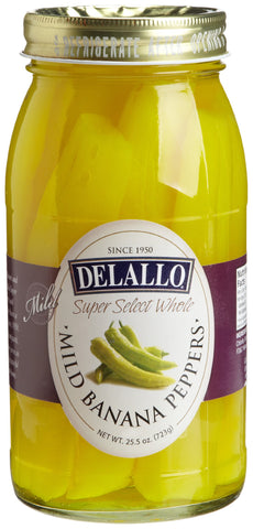 DeLallo Whole Mild Banana Peppers, 25.5-Ounce Jars (Pack of 6)