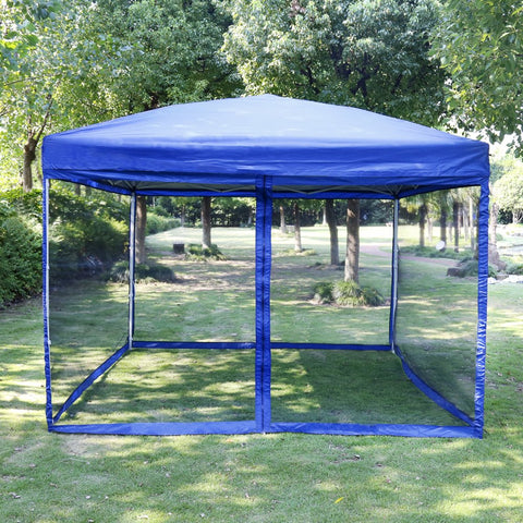 VIVOHOME 210D Oxford Outdoor Easy Pop Up Canopy Screen Party Tent with Mesh Side Walls Blue 8 x 8 ft