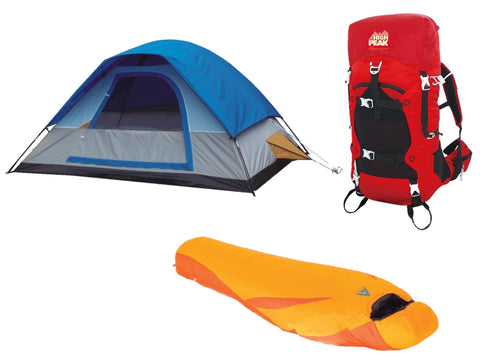 Alpinizmo High Peak USA 5 Men Tent 20F Sleeping Bag & 40 Liter Hiking Pack Tent, Red/Blue/Orange, One Size