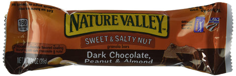 Nature Valley Sweet & Salty Nut Granola Bars Dark Chocolate, Peanut & Almond Flavor, 1 Box = 6 Bars, (2 Pack)