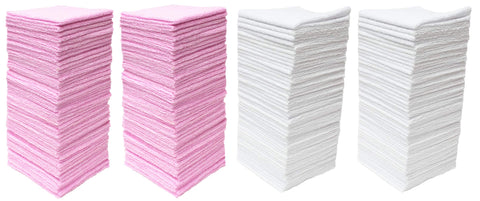 "Pull N Wipe 79136 Microfiber Cleaning Cloths and 2 Dispenser Boxes, 12""x12"", Pink/White, 100 Pack"