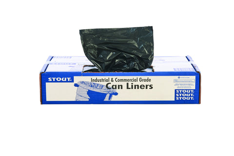 "STOUT by Envision STO-L3658K95 LLDPE ProPerformance Can Liners, 36"" x 58"", 55 gal Capacity, 0.95 mil Thickness, Black (Pack of 100) 55 Gallon 36"" X 58"""