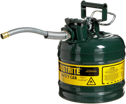 Justrite 7220420 AccuFlow 2 Gallon, 9.50  OD x 13.25  H Galvanized Steel Type II Green Safety Can With 5/8  Flexible Spout