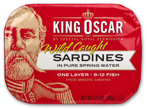 King Oscar Wild Caught Brisling Sardines In Pure Spring Water, 3.75 Ounce (Pack of 12) Pack of 12