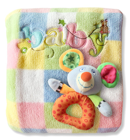 "Baby Blanket & Rattle Gift Set for Boys & Girls. Toddler to Newborn 30"" x 40"". Unique Unisex Baby Shower Gift. Soft Fleece Quilt for Receiving, Swaddling, Carseat, Nursery and Crib"