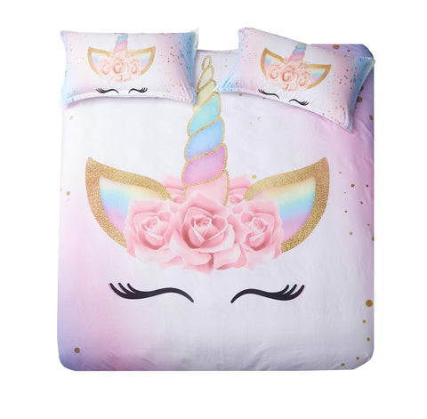 DEERHOME Unicorn Bedding 3 Piece Flower Girl Duvet Cover Set Cartoon Unicorn Bedspreads Cute Duvet Covers for Teens,Boys and Girls (#03, Queen) #03