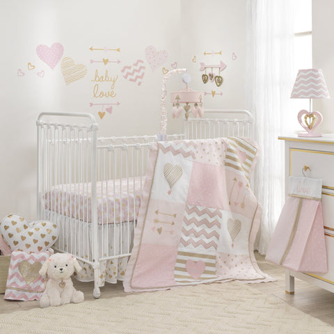 Lambs & Ivy Baby Love 6-Piece Girl Crib Bedding Set, Pink/Gold/White Hearts/Stripes/Chevron