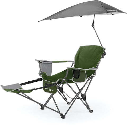 Sport-Brella 3-Position Recliner Chair with Removable Umbrella and Footrest Moss Green