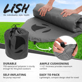LISH Self Inflating Sleeping Pad - Lightweight Sleep Mat for Backpacking & Camping Grey