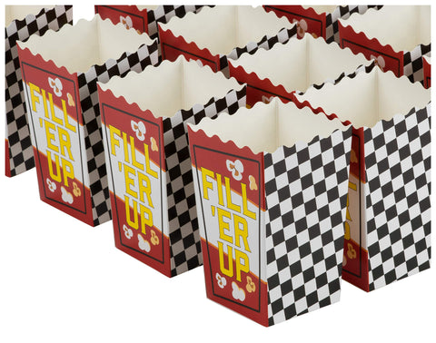 100-Pack Racing Popcorn Boxes - 20oz Open-Top Mini Paper Popcorn and Candy Container, Race Car Themed Party Supplies for Birthdays, Movie Nights, Fuel Fill 'Er Up Print, 3.3 x 5.5 x 2.75 Inches