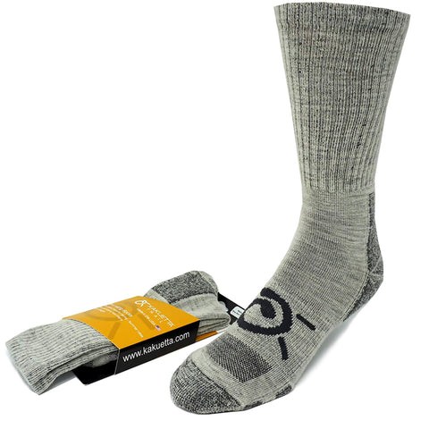 Kakuetta Trail Summer Hiking Socks Mens and Womens Merino Wool for Boots Shoes and Work Gray Large
