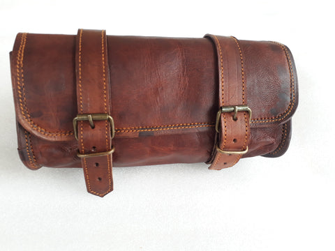 Genuine Leather Vintage Motorcycle 2 Strap Buckle Closure Tool Bag Brown Handlebar Sissy Bar Tool Pouch Roll Bags -10""