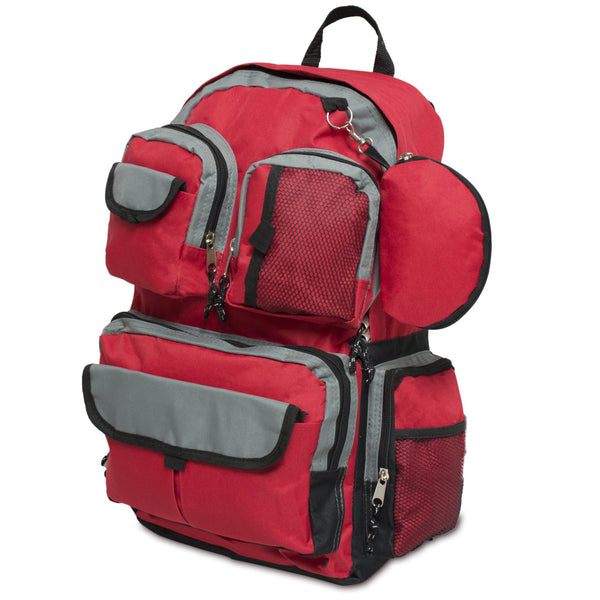 Emergency Zone Backpack: Tactical, Red, Black. Lightweight, Durable. Red Backpack