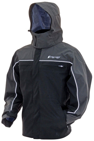 Frogg Toggs Pilot II Cruiser Rain Jacket, Compatible w/ Frogg Toggs Co-Pilot Puff Jacket & Vest Liners MD Black / Charcoal Gray