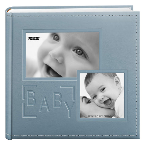 Pioneer Photo Albums 200-Pocket Embossed Baby Leatherette Frame Cover Album for 4 by 6-Inch Prints, Blue Clear